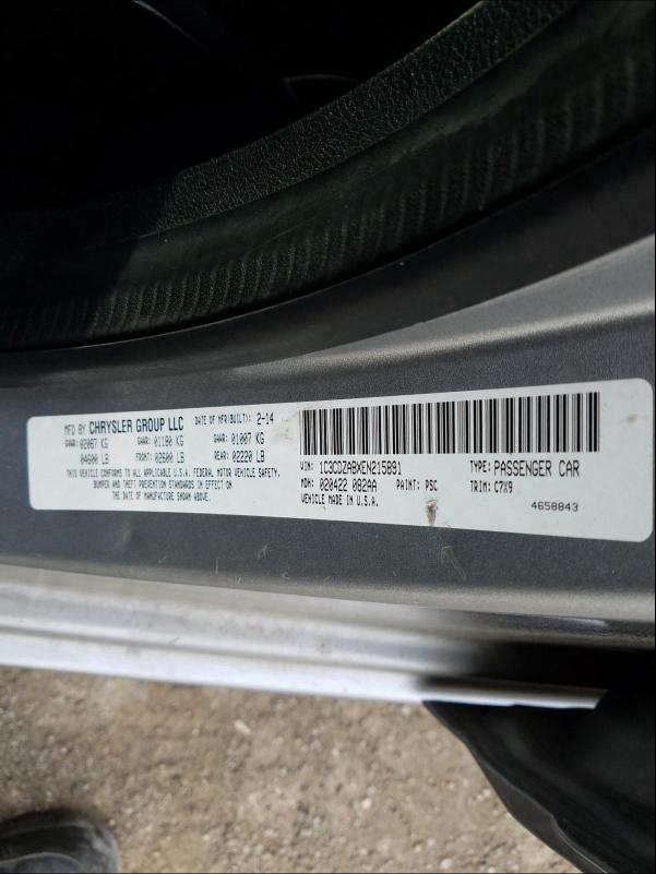 1C3CDZABXEN215891 2014 Dodge Avenger Se 2.4L