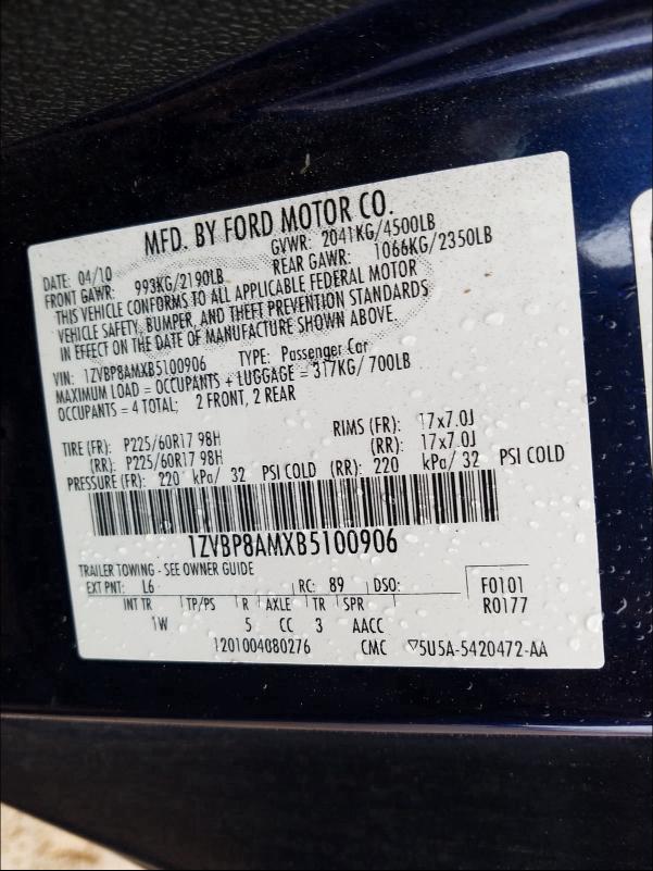 1ZVBP8AMXB5100906 2011 Ford Mustang 3.7L
