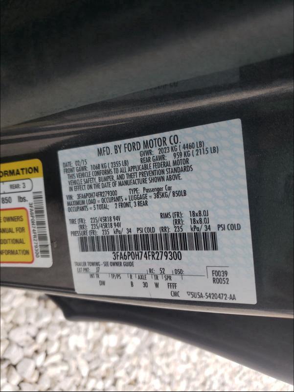 3FA6P0H74FR279300 2015 Ford Fusion Se 2.5L