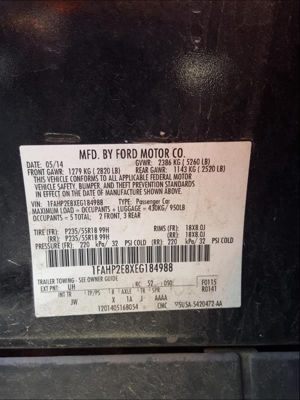 1FAHP2E8XEG184988 2014 Ford Taurus Sel 3.5L