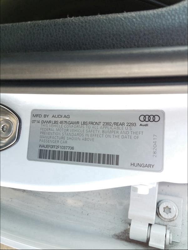 WAUEFGFF2F1037706 2015 Audi A3 Premium 2.0L