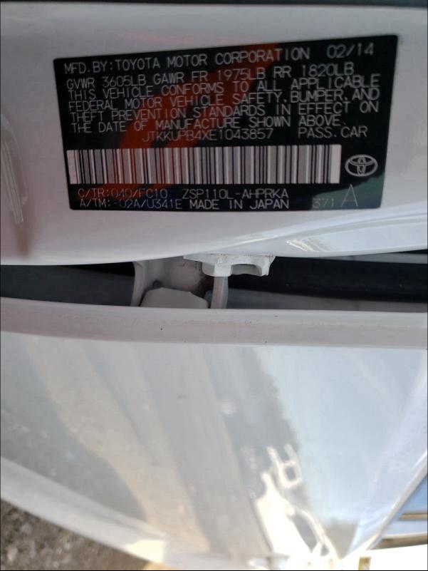 JTKKUPB4XE1043857 2014 Toyota Scion Xd 1.8L