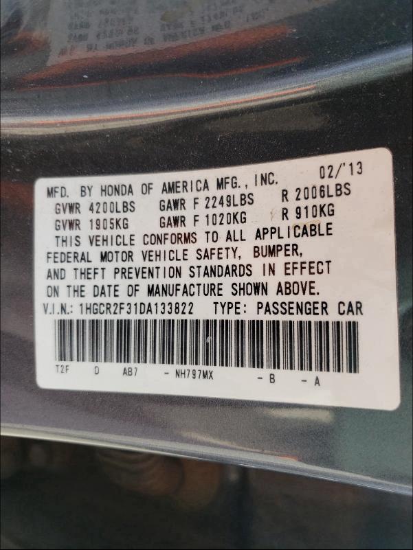 1HGCR2F31DA133822 2013 Honda Accord Lx 2.4L