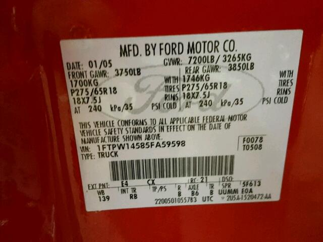 2005 FORD F150 SUPER 5.4L