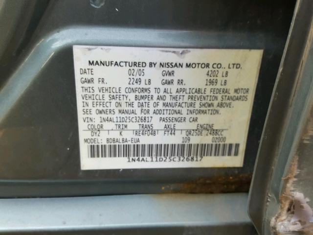 Salvage Certificate 2005 Nissan Altima S Sedan 4d 2 5L 4 For
