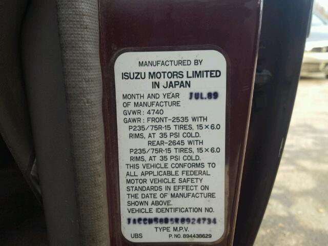 1989 Isuzu Trooper Ii Normal Wear Damage Jacch58r5k8924734 Sold