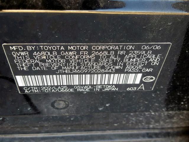Auto Auction Ended on VIN: JTHBJ46G972028443 2007 Lexus Es