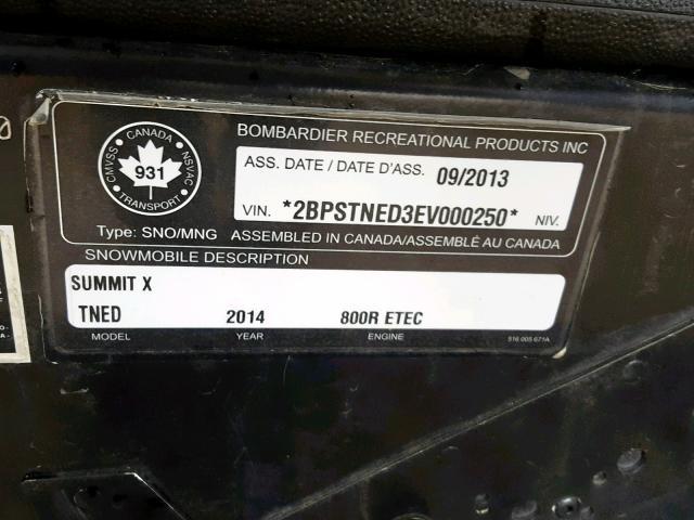 2014 Ski Doo Summit X 8 for Sale in Nisku AB - Lot: 34524309