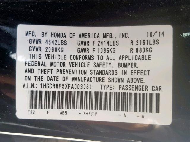 2015 Honda  | Vin: 1HGCR6F5XFA003081