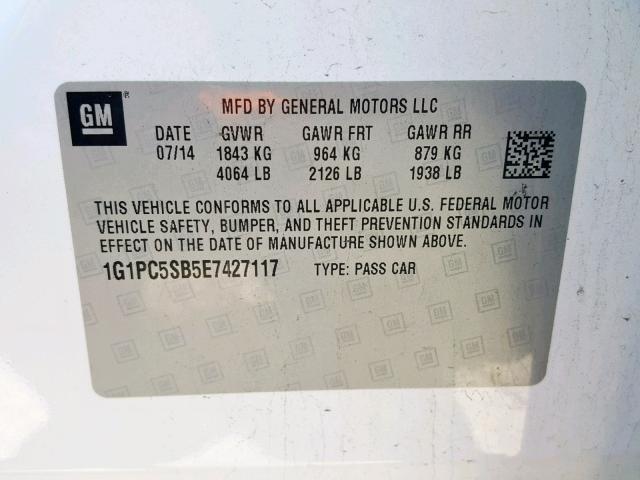 2014 Chevrolet Cruze Lt 1 4L 4 للبيع في Bridgeton MO - Lot: 36246839