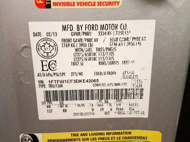 2013 Ford F150 Super 5 0L 8 for Sale in Nisku AB - Lot: 36625299