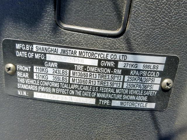 Auto Auction Ended on VIN: LJ4TCKPB48Y011151 2008 Othr
