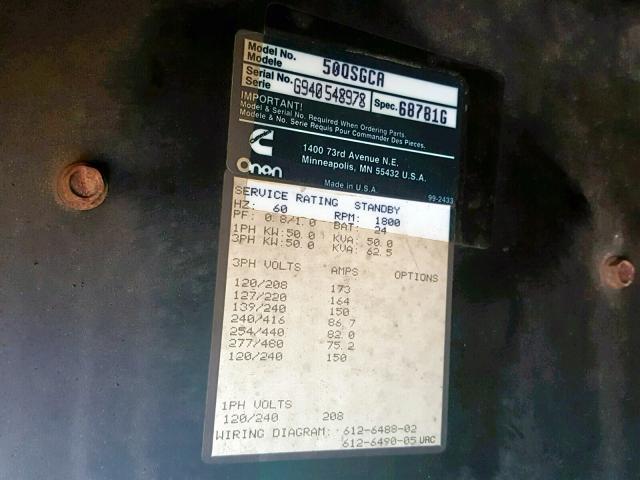 1999 Othr Generator for Sale in Hillsborough NJ - Lot: 37593829