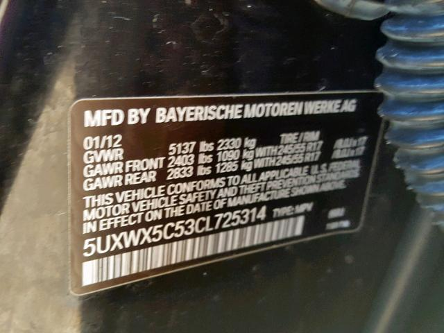 2012 BMW X3 XDRIVE28I 5UXWX5C53CL725314