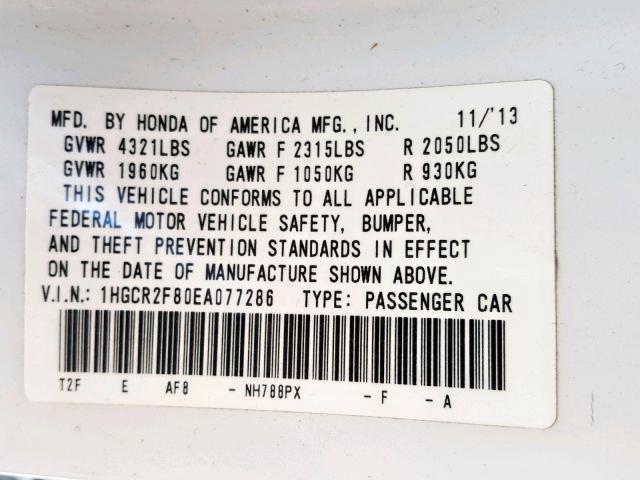 2014 Honda  | Vin: 1HGCR2F80EA077286