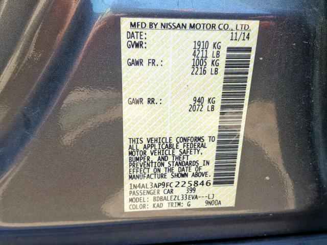 2015 Nissan    Vin: 1N4AL3AP9FC225846