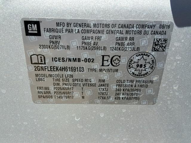 2017 Chevrolet EQUINOX | Vin: 2GNFLEEK4H6169103