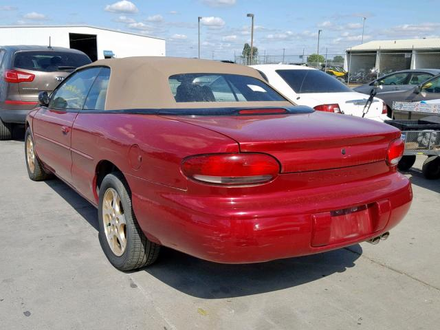 1998 Chrysler Sebring Converti 2 5l 6 Gas Red للبيع