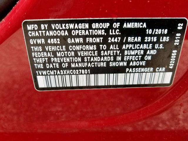2017 Volkswagen    Vin: 1VWCM7A3XHC027801