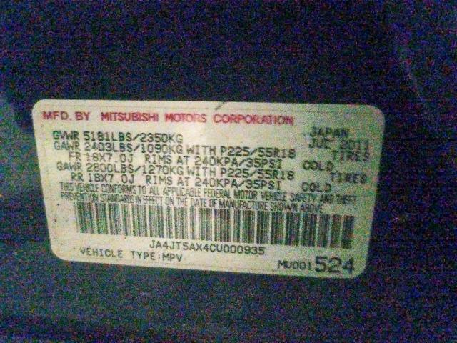 JA4JT5AX4CU000935 - 2012 Mitsubishi Outlander 3.0L