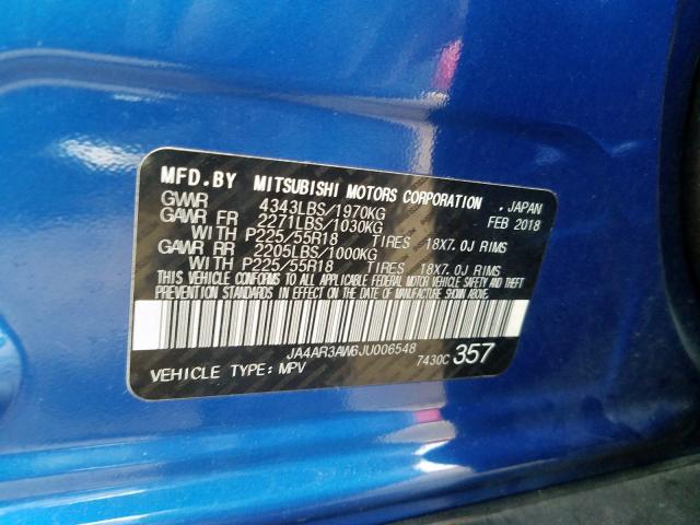 2018 Mitsubishi OUTLANDER | Vin: JA4AR3AW6JU006548