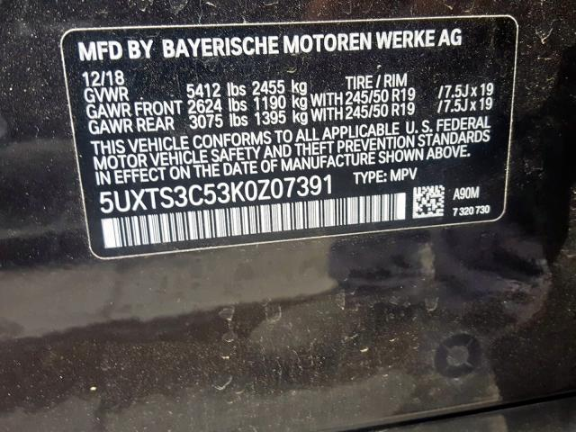 2019 BMW X3 | Vin: 5UXTS3C53K0Z07391