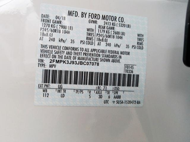 2018 Ford EDGE | Vin: 2FMPK3J93JBC07078