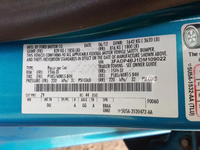 2013 Ford    Vin: 3FADP4BJ1DM109022