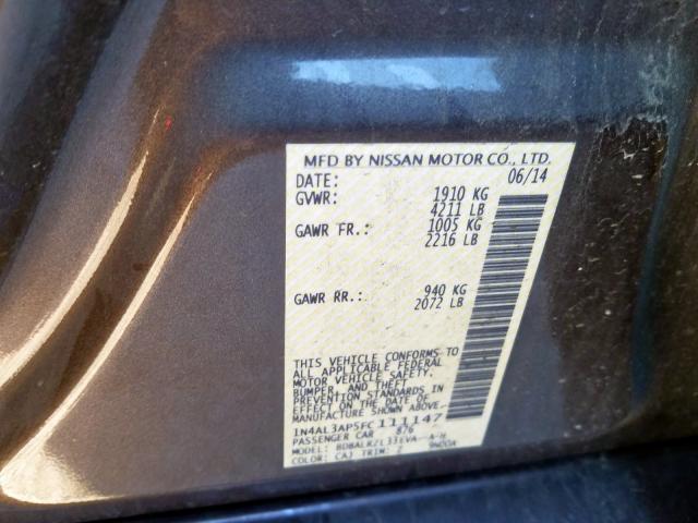 2015 Nissan    Vin: 1N4AL3AP5FC111147