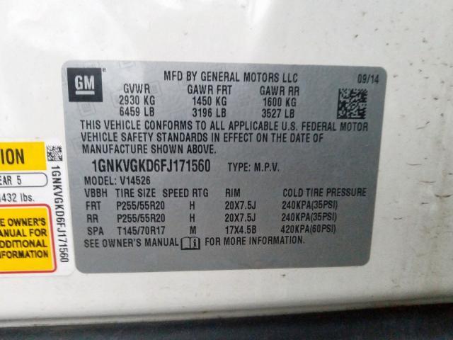 2015 Chevrolet    Vin: 1GNKVGKD6FJ171560