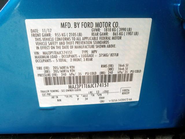 2018 Ford ECOSPORT   Vin: MAJ3P1TE6JC174151