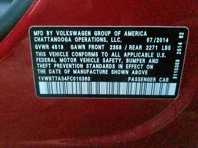 2015 Volkswagen PASSAT   Vin: 1VWBT7A34FC010360