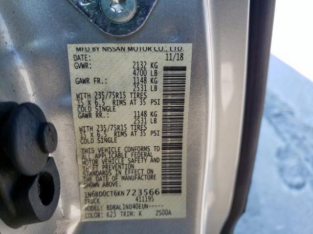 2019 Nissan    Vin: 1N6BD0CT6KN723566