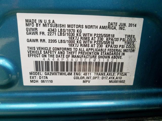 2014 Mitsubishi  | Vin: 4A4AP3AU9EE031821