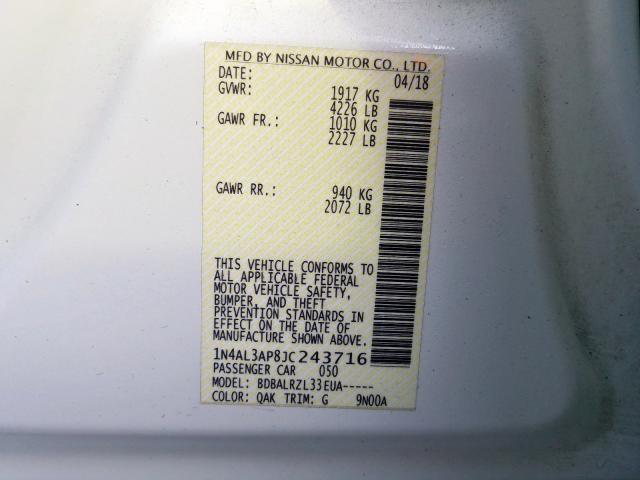 1N4AL3AP8JC243716 2018 Nissan Altima 2.5 2.5L