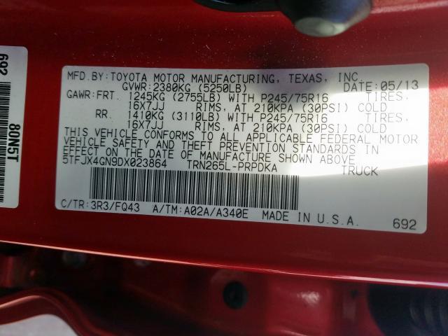 2013 Toyota TACOMA   Vin: 5TFJX4GN9DX023864