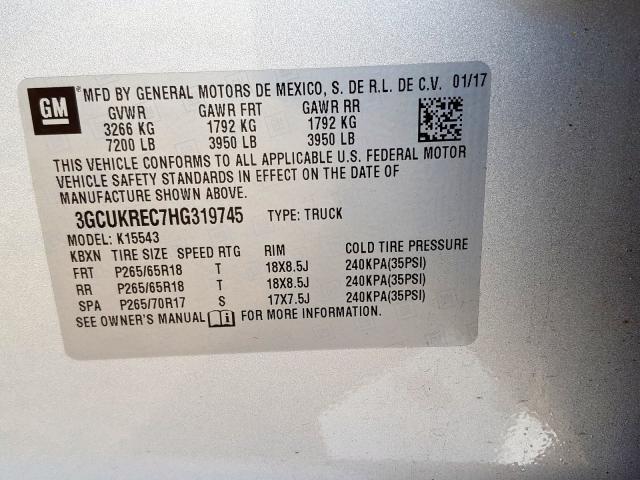 2017 Chevrolet  | Vin: 3GCUKREC7HG319745