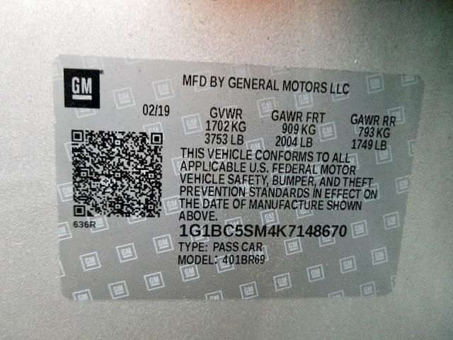 2019 Chevrolet  | Vin: 1G1BC5SM4K7148670