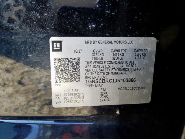 2018 Chevrolet TAHOE   Vin: 1GNSCBKC1JR103886