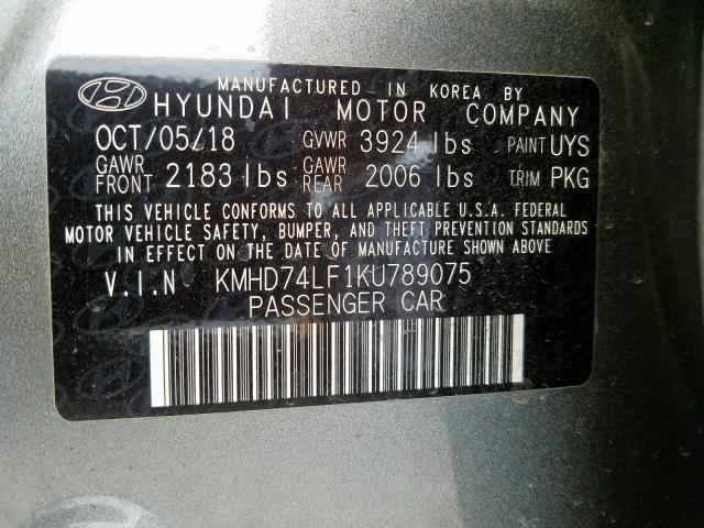 2019 Hyundai ELANTRA | Vin: KMHD74LF1KU789075