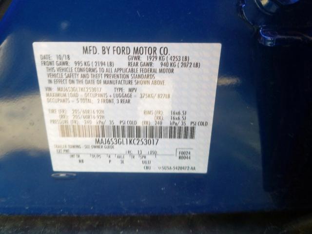 2019 Ford ECOSPORT | Vin: MAJ6S3GL1KC253017