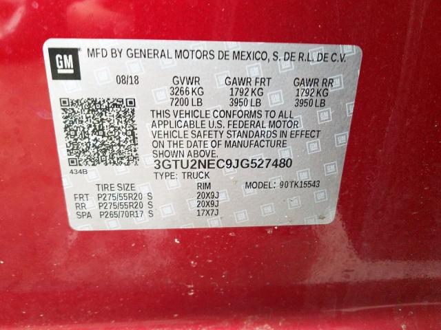 2018 GMC SIERRA   Vin: 3GTU2NEC9JG527480