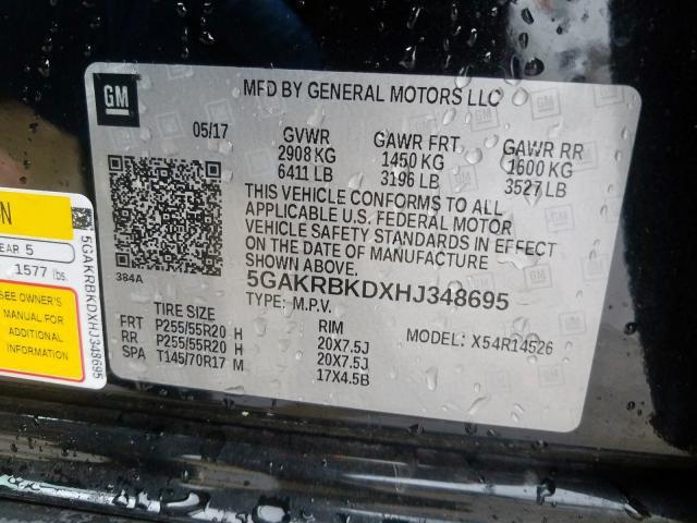 2017 Buick ENCLAVE | Vin: 5GAKRBKDXHJ348695