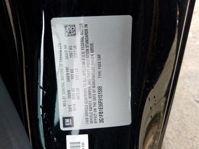 2015 Chevrolet    Vin: 2G1FB1E36F9151588
