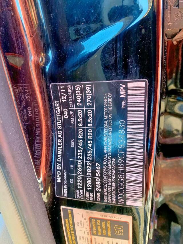 WDCGG8HB9CF834830 - 2012 Mercedes-Benz Glk 350 4M 3.5L