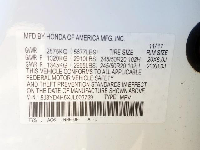 2018 Acura MDX | Vin: 5J8YD4H5XJL003729