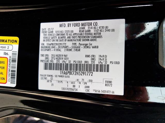 2017 Ford MUSTANG   Vin: 1FA6P8CF2H5291772