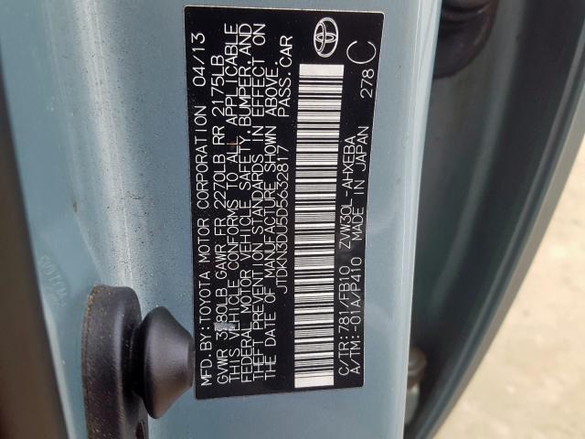 2013 Toyota  | Vin: JTDKN3DU5D5632817