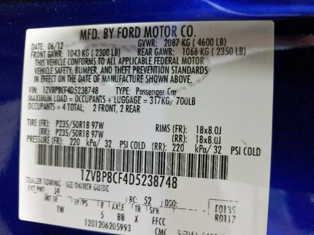 2013 Ford  | Vin: 1ZVBP8CF4D5238748
