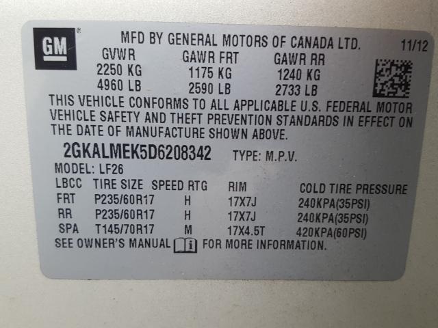 2013 GMC    Vin: 2GKALMEK5D6208342